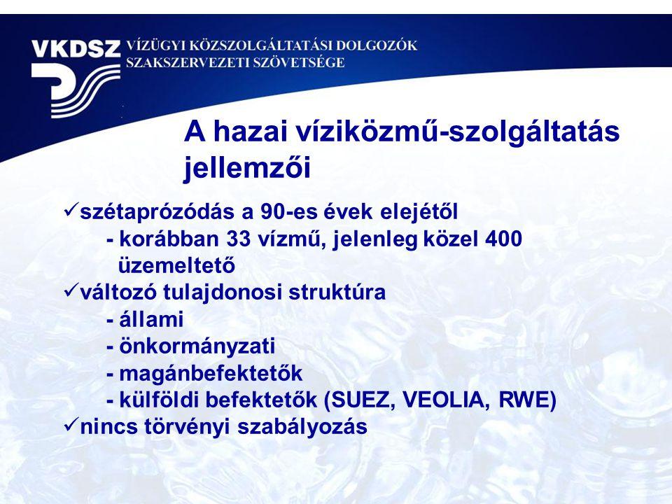 szétaprózódás a 90-es évek elejétől - korábban 33 vízmű, jelenleg közel 400 üzemeltető változó tulajdonosi struktúra - állami - önkormányzati - magánbefektetők - külföldi befektetők (SUEZ, VEOLIA, RWE) nincs törvényi szabályozás A hazai víziközmű-szolgáltatás jellemzői