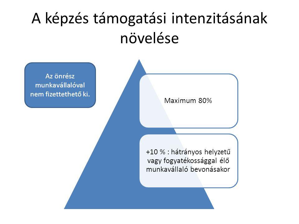A képzés támogatási intenzitásának növelése Maximum 80% +10 % : hátrányos helyzetű vagy fogyatékossággal élő munkavállaló bevonásakor Az önrész munkav