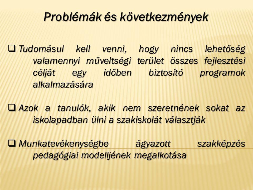 Problémák és következmények Tudomásul kell venni, hogy nincs lehetőség valamennyi műveltségi terület összes fejlesztési célját egy időben biztosító pr