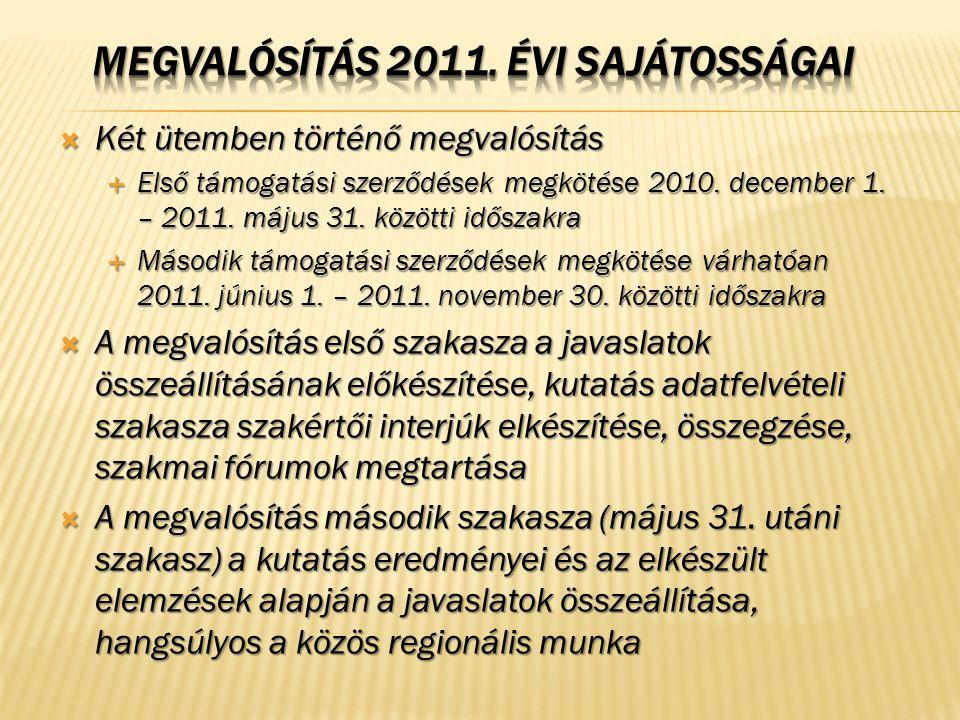  Két ütemben történő megvalósítás  Első támogatási szerződések megkötése 2010. december 1. – 2011. május 31. közötti időszakra  Második támogatási