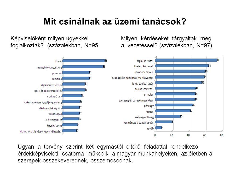 Mit csinálnak az üzemi tanácsok? Milyen kérdéseket tárgyaltak meg a vezetéssel? (százalékban, N=97) Képviselőként milyen ügyekkel foglalkoztak? (száza