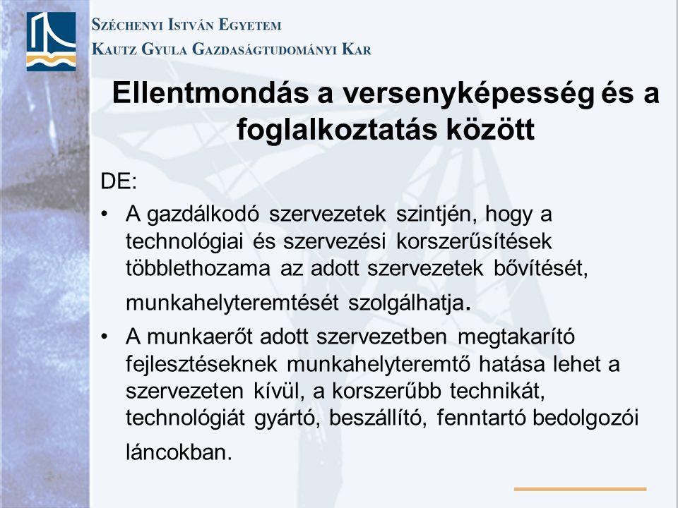 Ellentmondás a versenyképesség és a foglalkoztatás között DE: A gazdálkodó szervezetek szintjén, hogy a technológiai és szervezési korszerűsítések töb