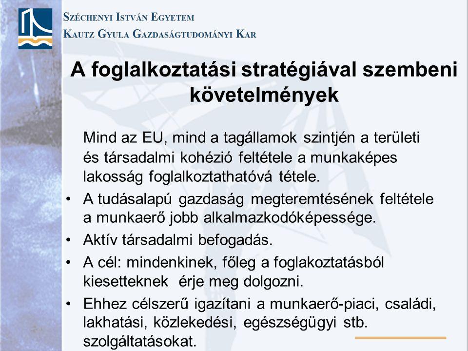 A foglalkoztatási stratégiával szembeni követelmények Mind az EU, mind a tagállamok szintjén a területi és társadalmi kohézió feltétele a munkaképes l