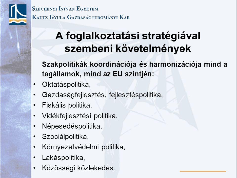 A foglalkoztatási stratégiával szembeni követelmények Szakpolitikák koordinációja és harmonizációja mind a tagállamok, mind az EU szintjén: Oktatáspol
