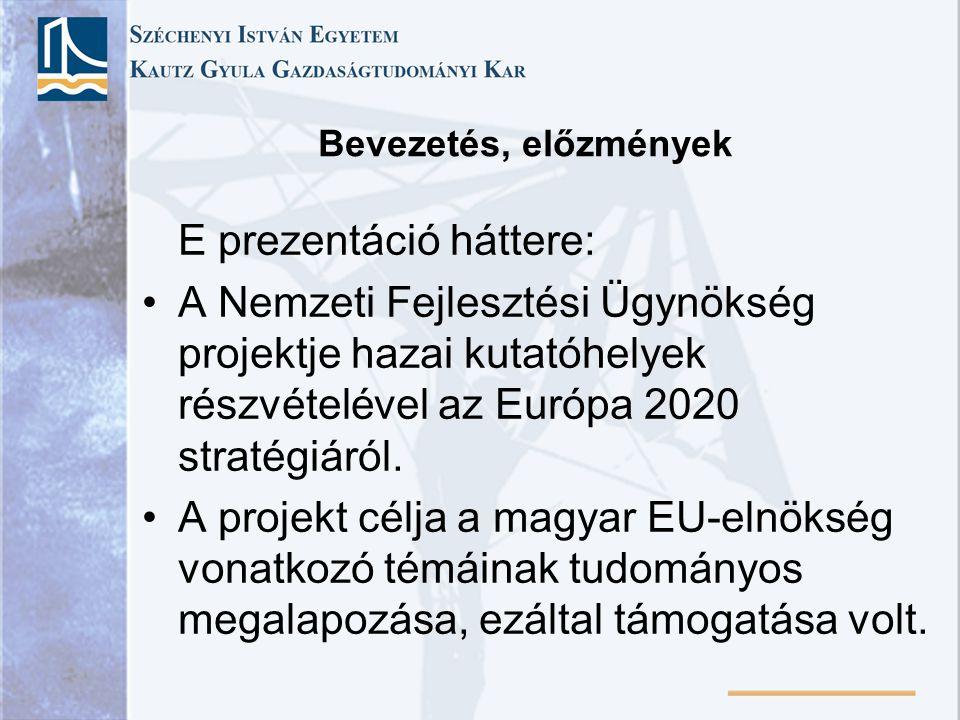 Bevezetés, előzmények E prezentáció háttere: A Nemzeti Fejlesztési Ügynökség projektje hazai kutatóhelyek részvételével az Európa 2020 stratégiáról. A
