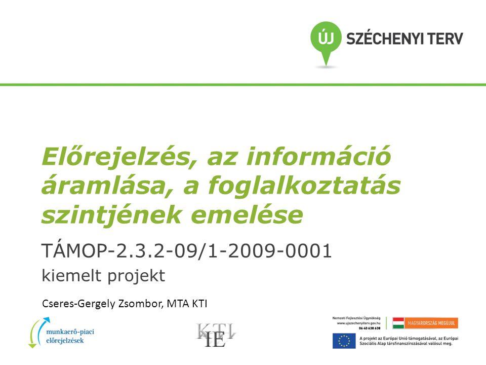 Előrejelzés, az információ áramlása, a foglalkoztatás szintjének emelése TÁMOP-2.3.2-09/1-2009-0001 kiemelt projekt Cseres-Gergely Zsombor, MTA KTI