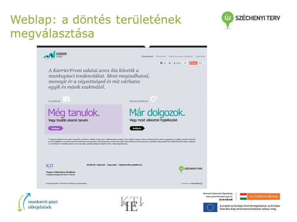 Weblap: a döntés területének megválasztása