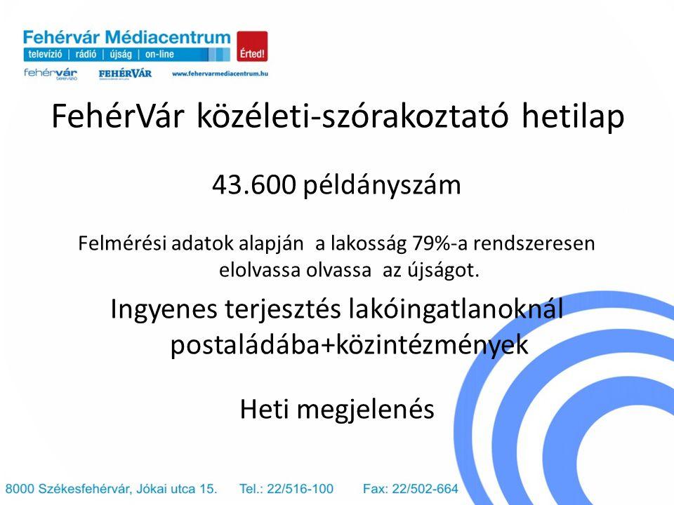 FehérVár közéleti-szórakoztató hetilap 43.600 példányszám Felmérési adatok alapján a lakosság 79%-a rendszeresen elolvassa olvassa az újságot. Ingyene