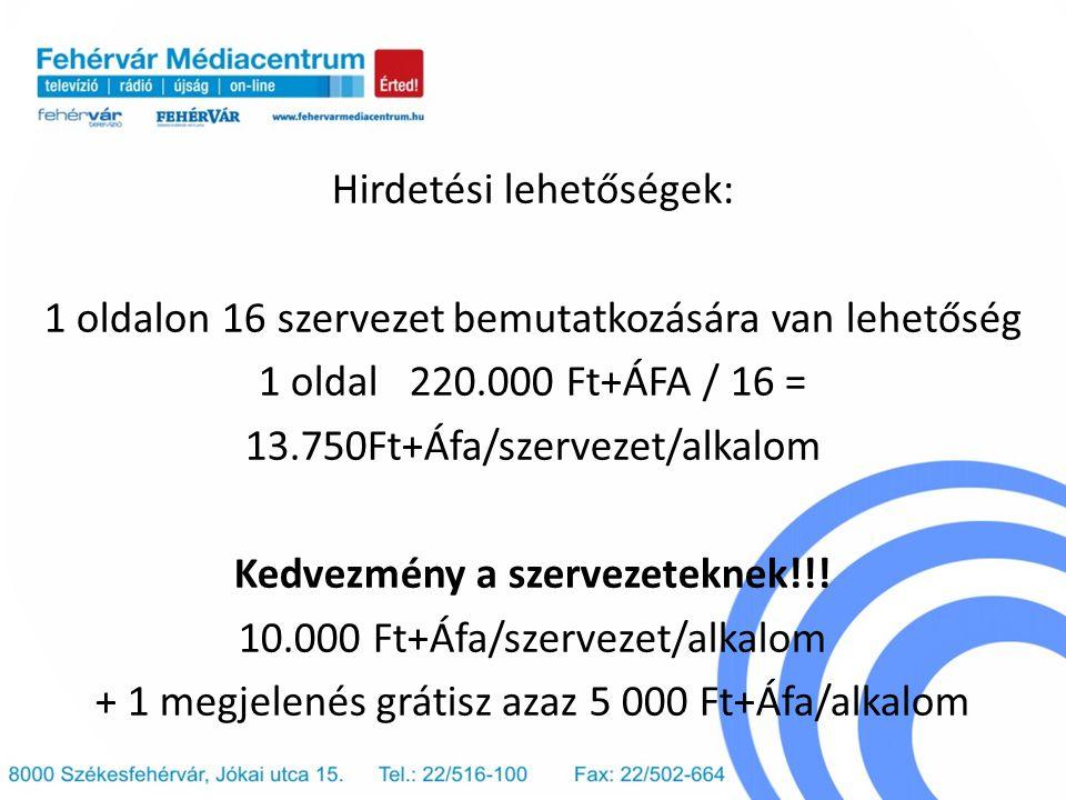 Hirdetési lehetőségek: 1 oldalon 16 szervezet bemutatkozására van lehetőség 1 oldal 220.000 Ft+ÁFA / 16 = 13.750Ft+Áfa/szervezet/alkalom Kedvezmény a