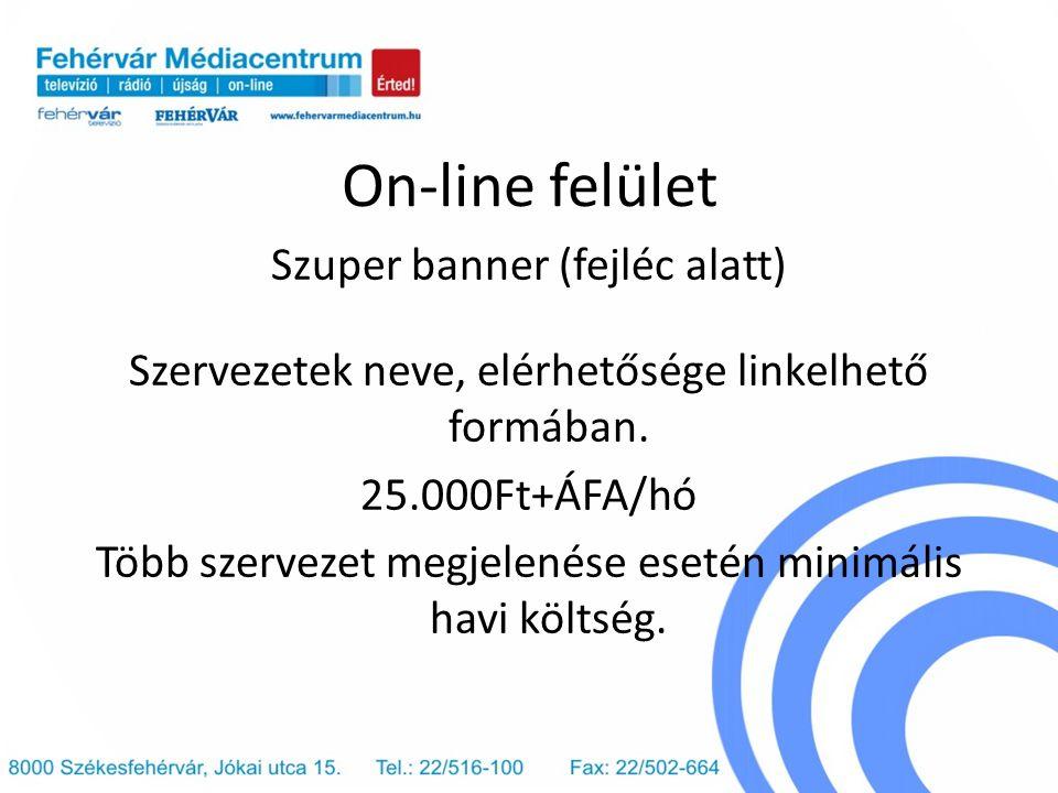 On-line felület Szuper banner (fejléc alatt) Szervezetek neve, elérhetősége linkelhető formában. 25.000Ft+ÁFA/hó Több szervezet megjelenése esetén min