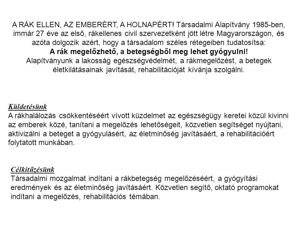 A RÁK ELLEN, AZ EMBERÉRT, A HOLNAPÉRT! Társadalmi Alapítvány 1985-ben, immár 27 éve az első, rákellenes civil szervezetként jött létre Magyarországon,