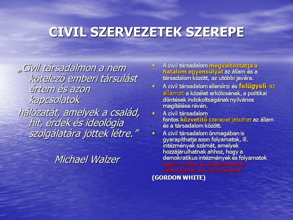 """CIVIL SZERVEZETEK SZEREPE """"Civil társadalmon a nem kötelező emberi társulást értem és azon kapcsolatok hálózatát, amelyek a család, hit, érdek és ideológia szolgálatára jöttek létre. Michael Walzer Michael Walzer A civil társadalom megváltoztatja a hatalom egyensúlyát az állam és a társadalom között, az utóbbi javára."""