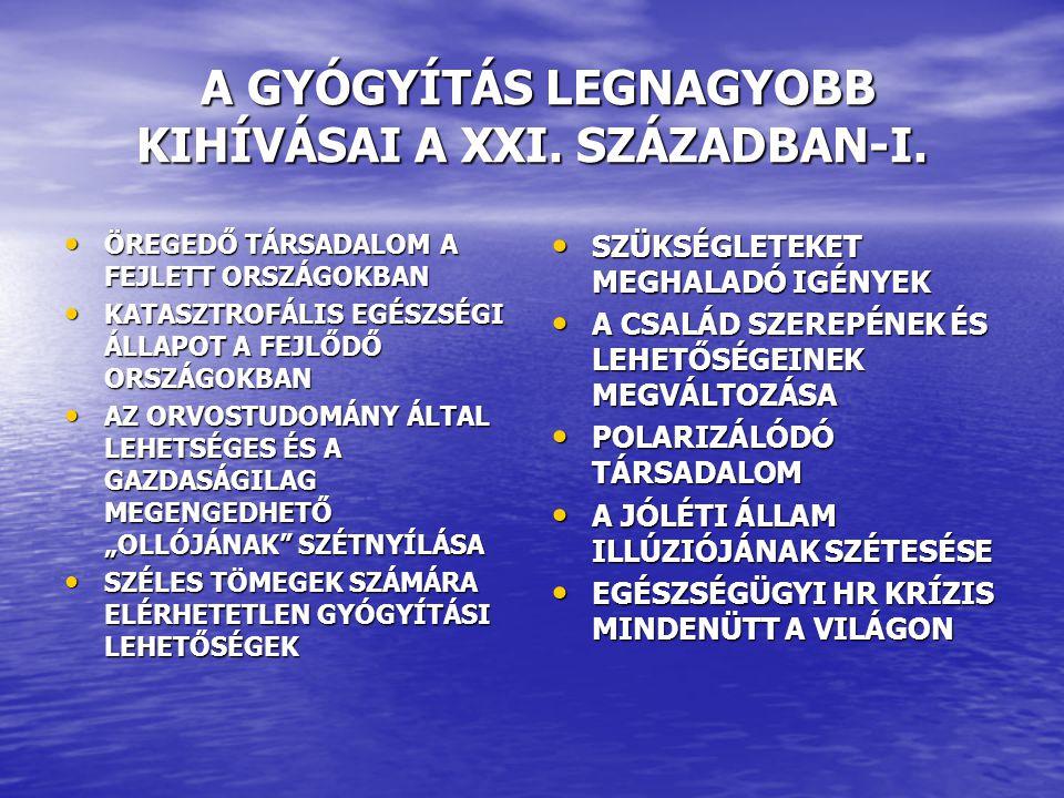 A GYÓGYÍTÁS LEGNAGYOBB KIHÍVÁSAI A XXI.SZÁZADBAN-II.