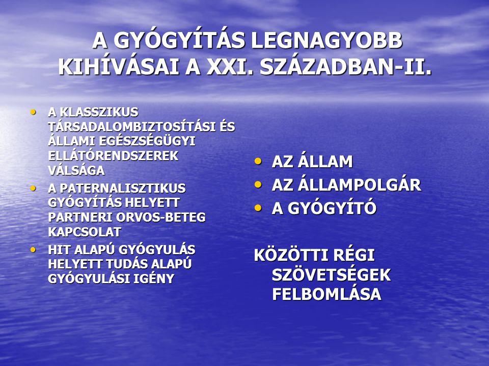 A GYÓGYÍTÁS LEGNAGYOBB KIHÍVÁSAI A XXI. SZÁZADBAN-II.