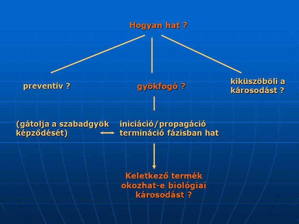 (gátolja a szabadgyök képződését) kiküszöböli a károsodást ? Hogyan hat ? gyökfogó ? preventív ? iniciáció/propagáció termináció fázisban hat Keletkez