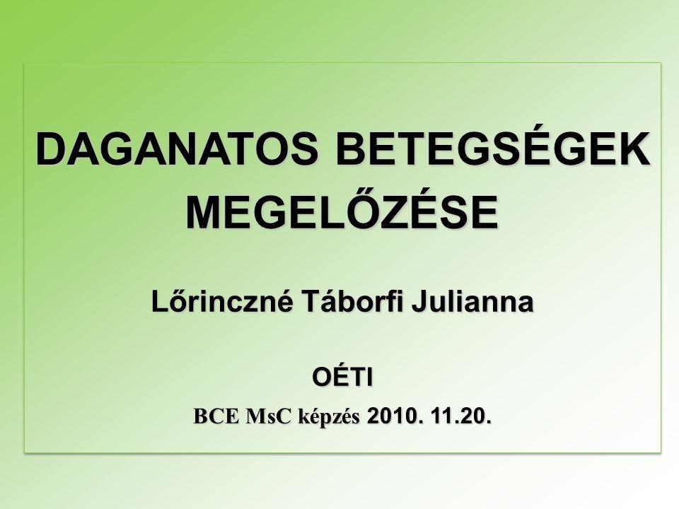 DAGANATOS BETEGSÉGEK MEGELŐZÉSE Lőrinczné Táborfi Julianna OÉTI BCE MsC képzés 2010. 11.20. DAGANATOS BETEGSÉGEK MEGELŐZÉSE Lőrinczné Táborfi Julianna
