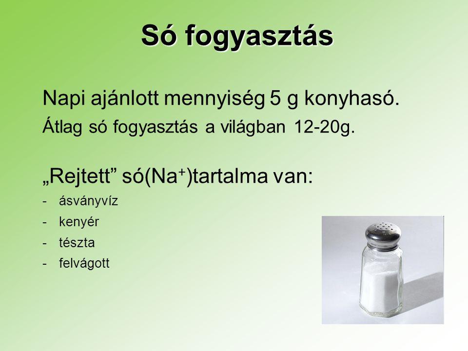 """Só fogyasztás Napi ajánlott mennyiség 5 g konyhasó. Átlag só fogyasztás a világban 12-20g. """"Rejtett"""" só(Na + )tartalma van: - -ásványvíz - -kenyér - -"""