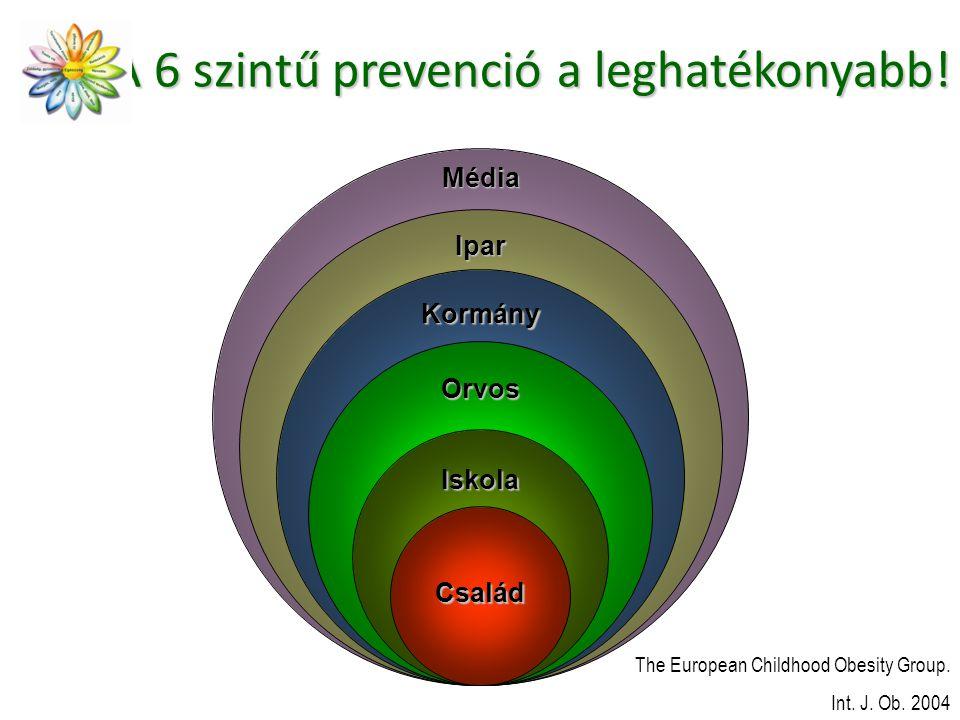 A 6 szintű prevenció a leghatékonyabb! Kormány Orvos Iskola The European Childhood Obesity Group. Int. J. Ob. 2004 Család Ipar Média