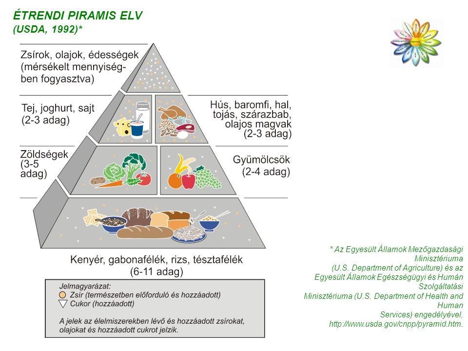 ÉTRENDI PIRAMIS ELV (USDA, 1992)* * Az Egyesült Államok Mezőgazdasági Minisztériuma (U.S. Department of Agriculture) és az Egyesült Államok Egészségüg