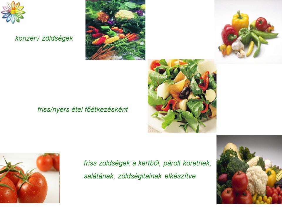 konzerv zöldségek friss/nyers étel főétkezésként friss zöldségek a kertből, párolt köretnek, salátának, zöldségitalnak elkészítve