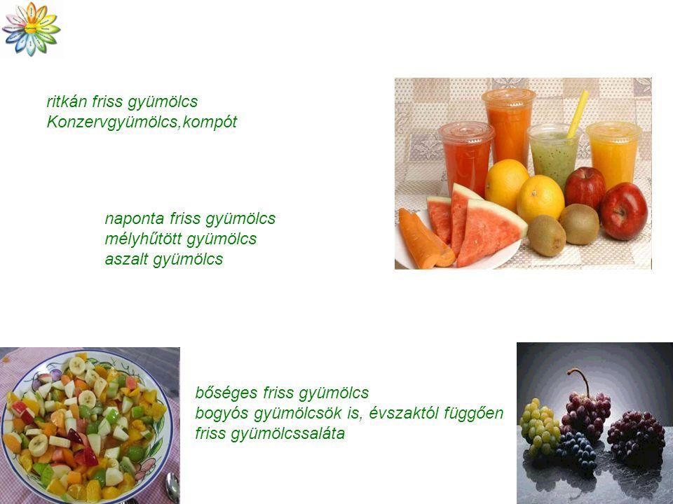 ritkán friss gyümölcs Konzervgyümölcs,kompót naponta friss gyümölcs mélyhűtött gyümölcs aszalt gyümölcs bőséges friss gyümölcs bogyós gyümölcsök is, évszaktól függően friss gyümölcssaláta