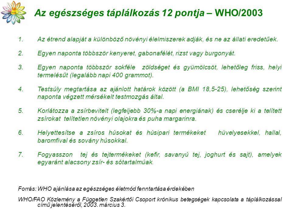 Az egészséges táplálkozás 12 pontja – WHO/2003 1.Az étrend alapját a különböző növényi élelmiszerek adják, és ne az állati eredetűek. 2.Egyen naponta