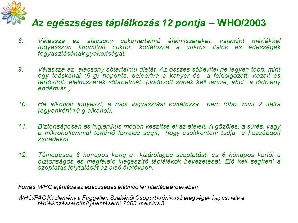 Az egészséges táplálkozás 12 pontja – WHO/2003 8.Válassza az alacsony cukortartalmú élelmiszereket, valamint mértékkel fogyasszon finomított cukrot, k