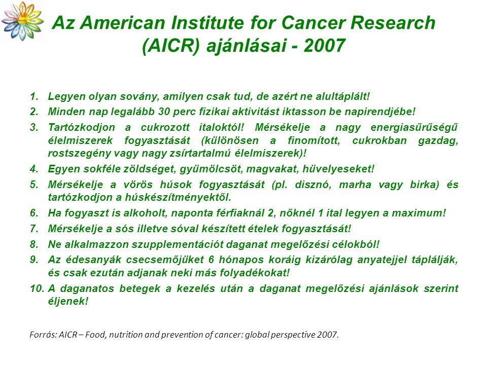 Az American Institute for Cancer Research (AICR) ajánlásai - 2007 1.Legyen olyan sovány, amilyen csak tud, de azért ne alultáplált! 2.Minden nap legal