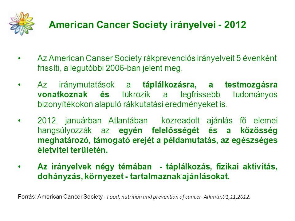 American Cancer Society irányelvei - 2012 Az American Canser Society rákprevenciós irányelveit 5 évenként frissíti, a legutóbbi 2006-ban jelent meg.