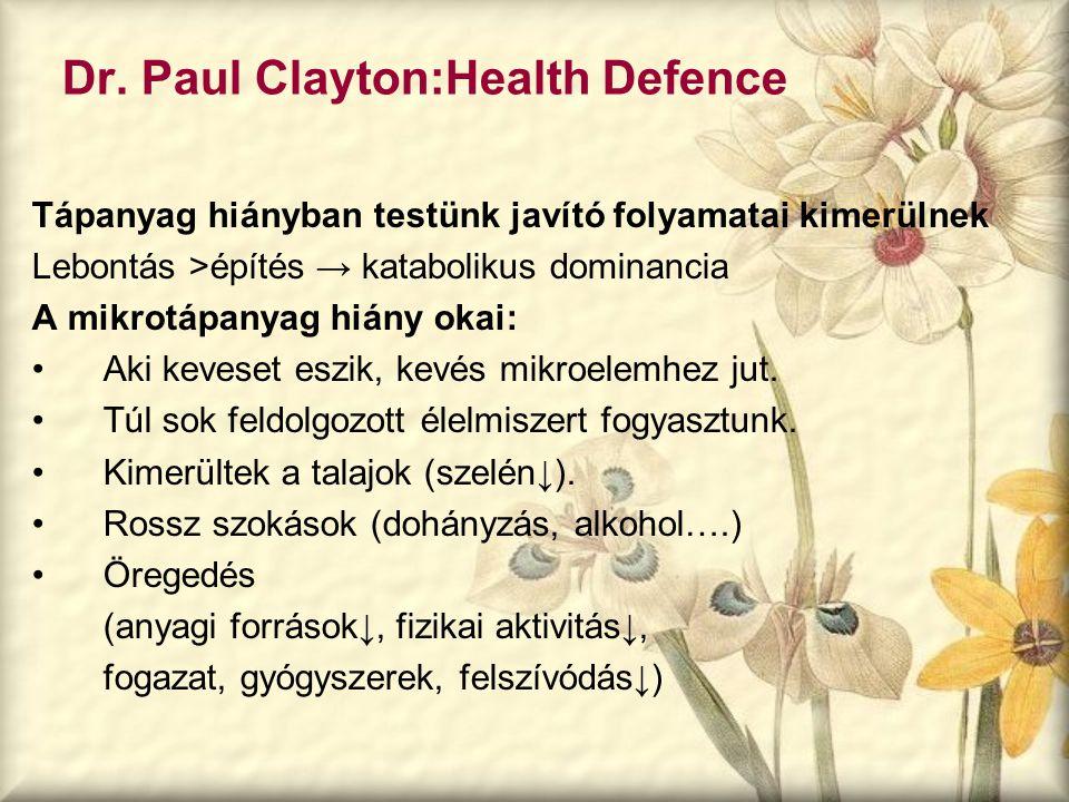 Dr. Paul Clayton:Health Defence Tápanyag hiányban testünk javító folyamatai kimerülnek Lebontás >építés → katabolikus dominancia A mikrotápanyag hiány
