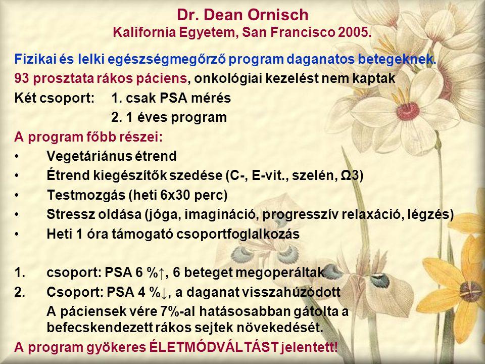 Dr. Dean Ornisch Kalifornia Egyetem, San Francisco 2005. Fizikai és lelki egészségmegőrző program daganatos betegeknek. 93 prosztata rákos páciens, on