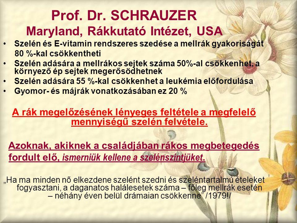 Prof. Dr. SCHRAUZER Maryland, Rákkutató Intézet, USA Szelén és E-vitamin rendszeres szedése a mellrák gyakoriságát 80 %-kal csökkentheti Szelén adásár