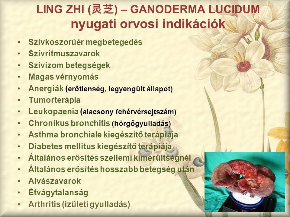 LING ZHI ( 灵芝 ) – GANODERMA LUCIDUM nyugati orvosi indikációk Szívkoszorúér megbetegedés Szívritmuszavarok Szívizom betegségek Magas vérnyomás Anergiá