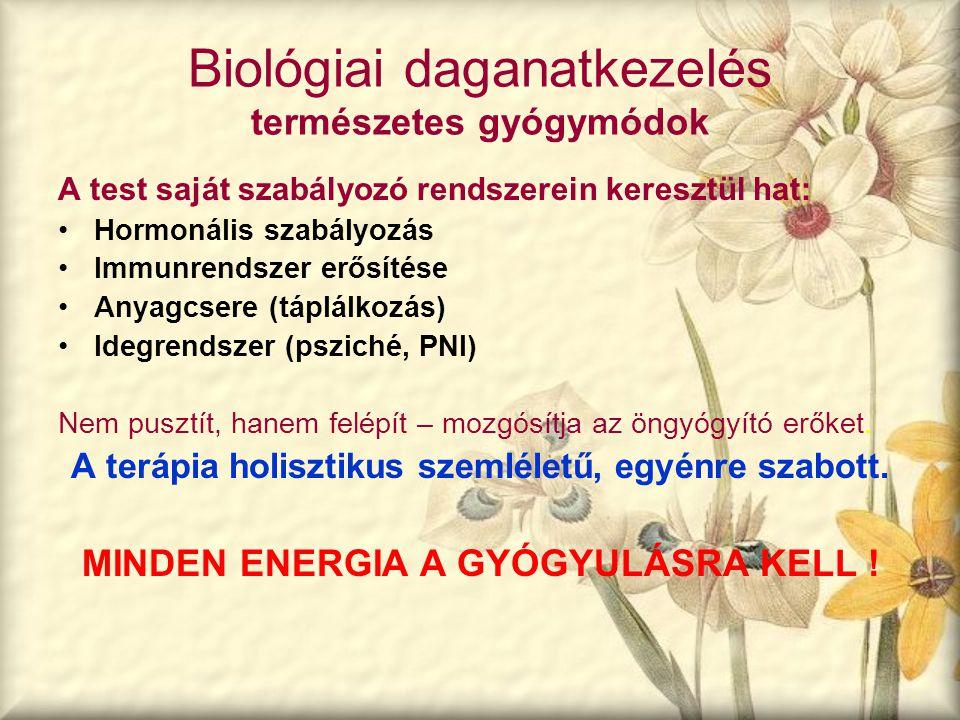 Biológiai daganatkezelés természetes gyógymódok A test saját szabályozó rendszerein keresztül hat: Hormonális szabályozás Immunrendszer erősítése Anya