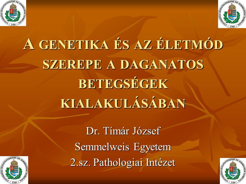 A GENETIKA ÉS AZ ÉLETMÓD SZEREPE A DAGANATOS BETEGSÉGEK KIALAKULÁSÁBAN Dr.