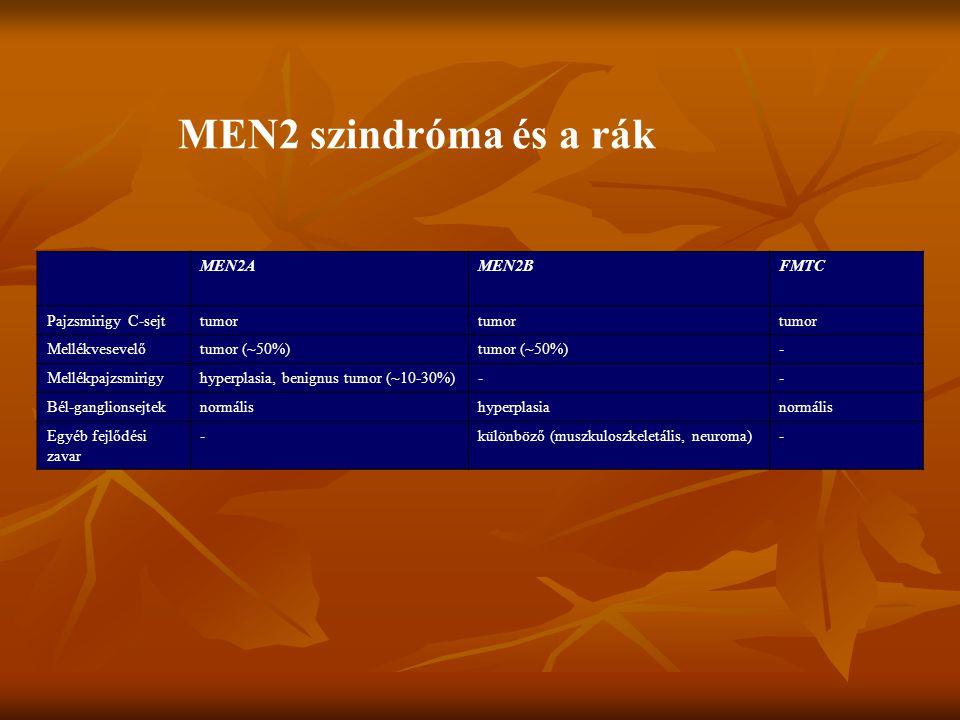 MEN2AMEN2BFMTC Pajzsmirigy C-sejttumor Mellékvesevelőtumor (~50%) - Mellékpajzsmirigyhyperplasia, benignus tumor (~10-30%)-- Bél-ganglionsejteknormálishyperplasianormális Egyéb fejlődési zavar -különböző (muszkuloszkeletális, neuroma)- MEN2 szindróma és a rák