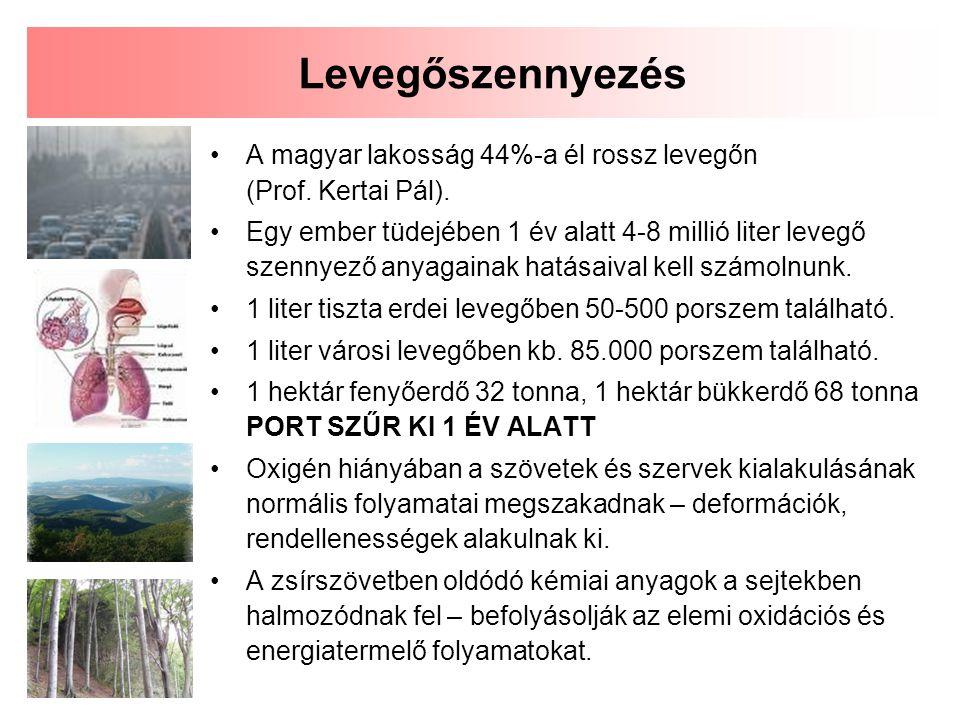 A magyar lakosság 44%-a él rossz levegőn (Prof.Kertai Pál).