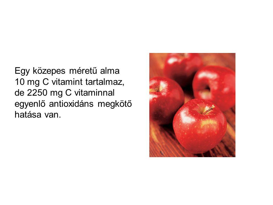 Egy közepes méretű alma 10 mg C vitamint tartalmaz, de 2250 mg C vitaminnal egyenlő antioxidáns megkötő hatása van.