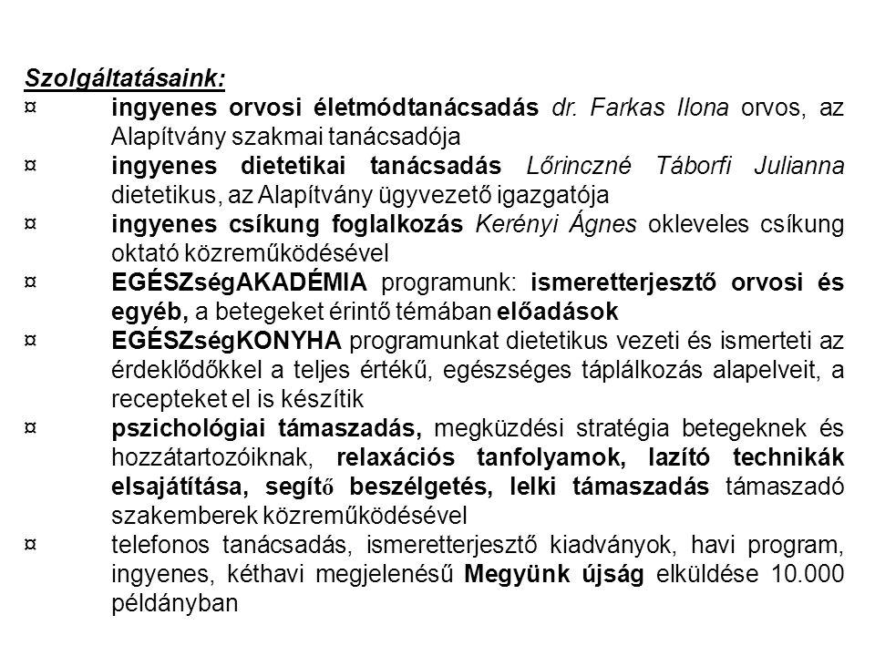 Szolgáltatásaink: ¤ingyenes orvosi életmódtanácsadás dr. Farkas Ilona orvos, az Alapítvány szakmai tanácsadója ¤ingyenes dietetikai tanácsadás Lőrincz