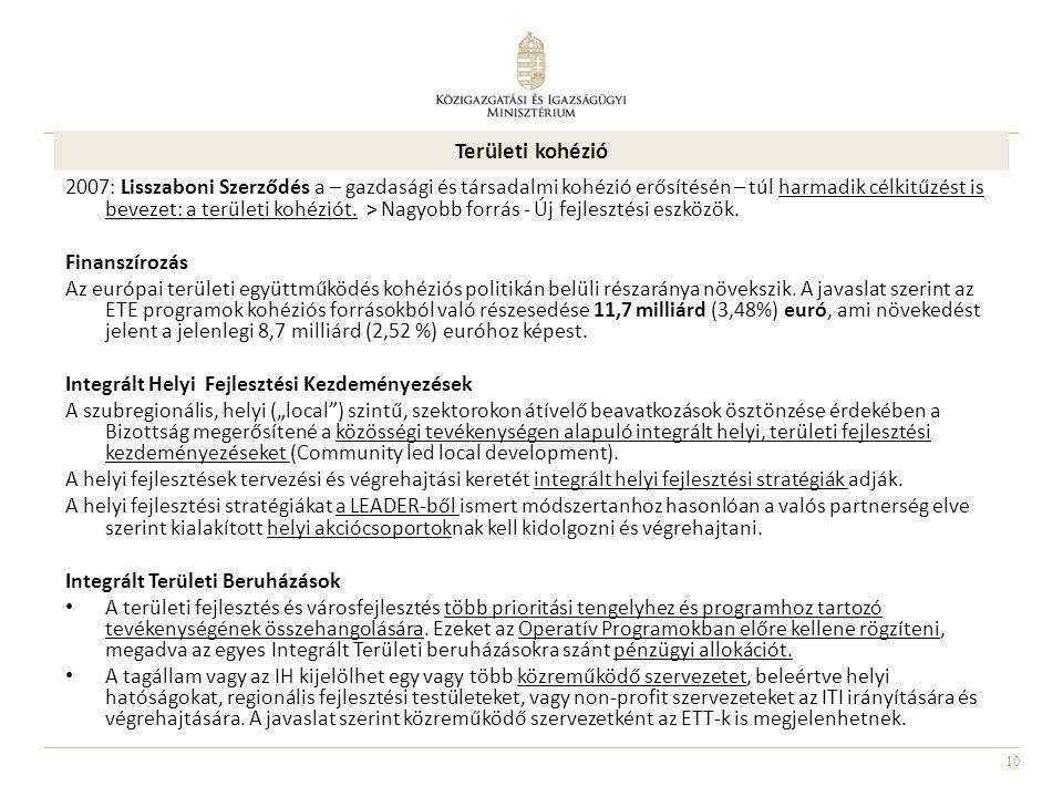 10 Területi kohézió 2007: Lisszaboni Szerződés a – gazdasági és társadalmi kohézió erősítésén – túl harmadik célkitűzést is bevezet: a területi kohézi
