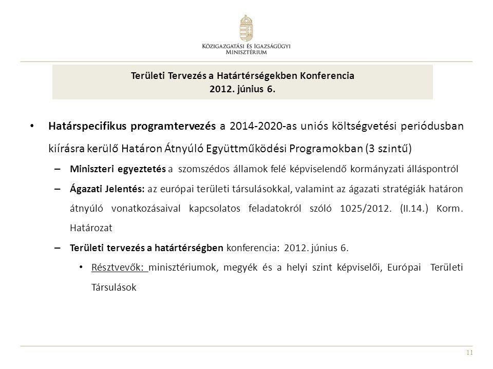 11 Határspecifikus programtervezés a 2014-2020-as uniós költségvetési periódusban kiírásra kerülő Határon Átnyúló Együttműködési Programokban (3 szint