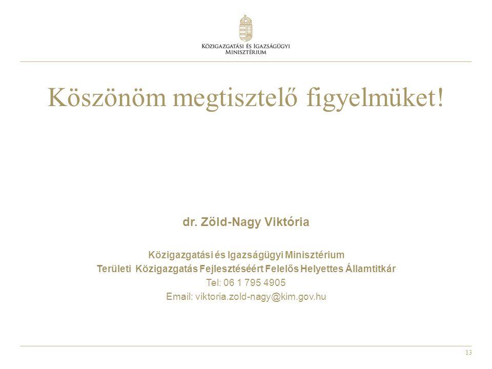 13 Köszönöm megtisztelő figyelmüket! dr. Zöld-Nagy Viktória Közigazgatási és Igazságügyi Minisztérium Területi Közigazgatás Fejlesztéséért Felelős Hel