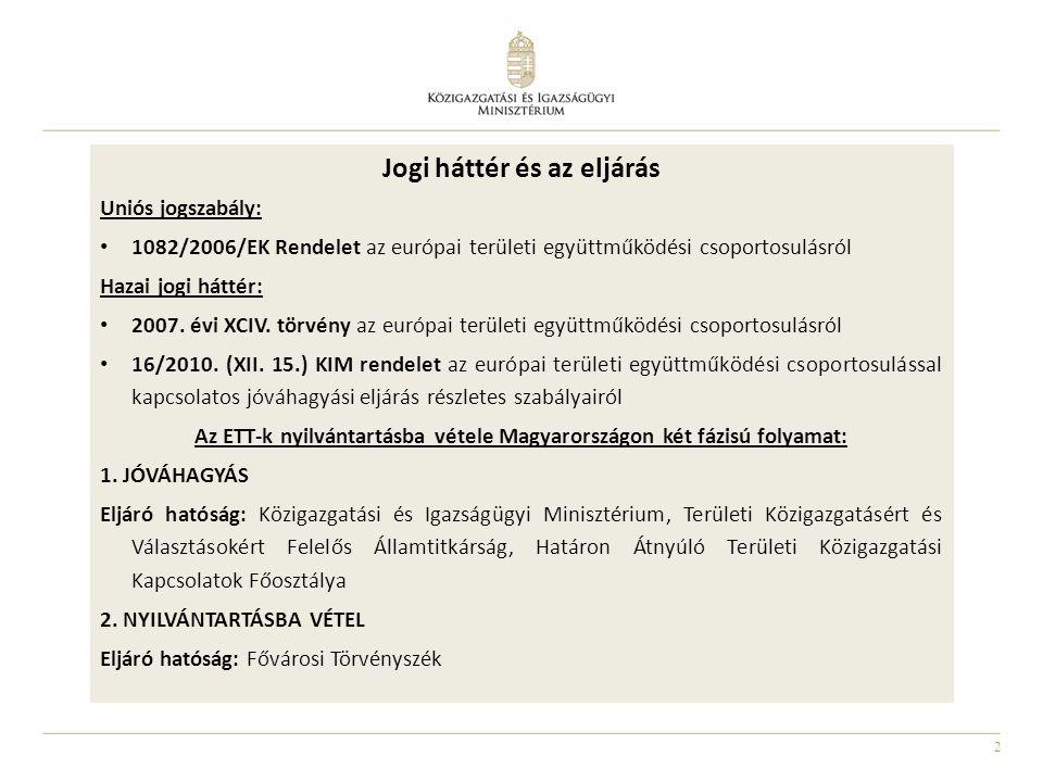 2 Jogi háttér és az eljárás Uniós jogszabály: 1082/2006/EK Rendelet az európai területi együttműködési csoportosulásról Hazai jogi háttér: 2007. évi X
