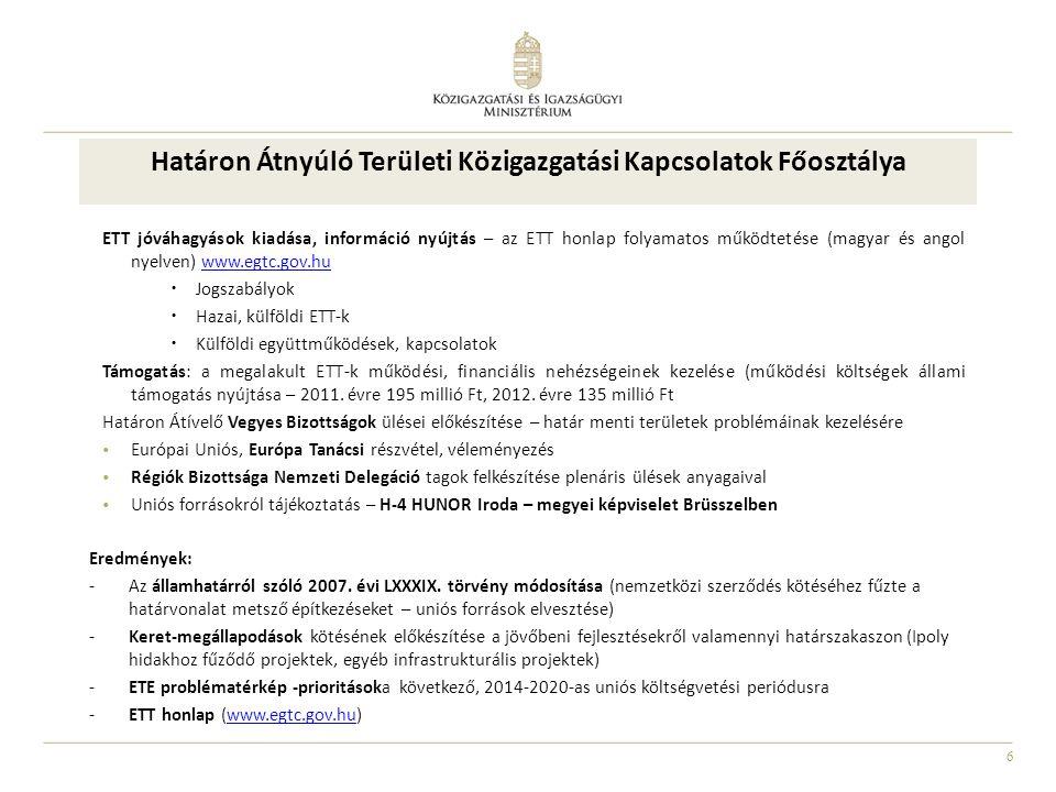 6 Határon Átnyúló Területi Közigazgatási Kapcsolatok Főosztálya ETT jóváhagyások kiadása, információ nyújtás – az ETT honlap folyamatos működtetése (m