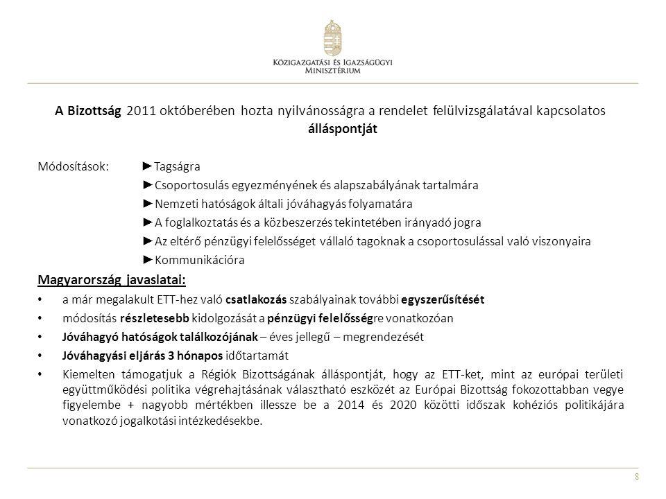 8 A Bizottság 2011 októberében hozta nyilvánosságra a rendelet felülvizsgálatával kapcsolatos álláspontját Módosítások: ► Tagságra ► Csoportosulás egy