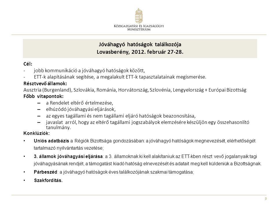 9 Jóváhagyó hatóságok találkozója Lovasberény, 2012. február 27-28. Cél: -jobb kommunikáció a jóváhagyó hatóságok között, -ETT-k alapításának segítése