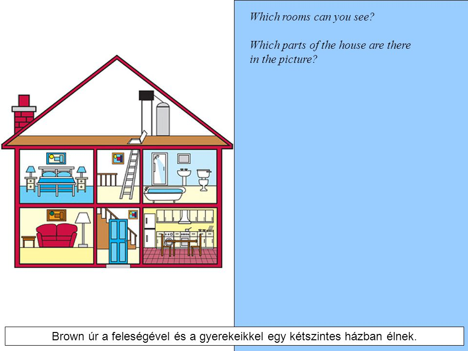 Which rooms can you see? Which parts of the house are there in the picture? Brown úr a feleségével és a gyerekeikkel egy kétszintes házban élnek.