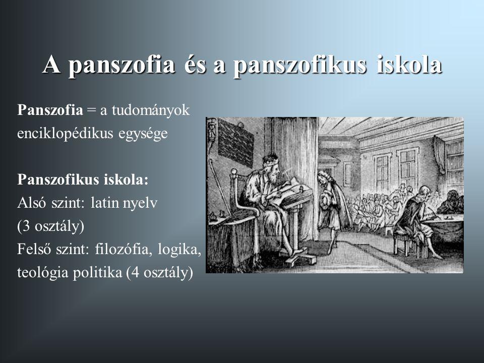 A panszofia és a panszofikus iskola Panszofia = a tudományok enciklopédikus egysége Panszofikus iskola: Alsó szint: latin nyelv (3 osztály) Felső szin