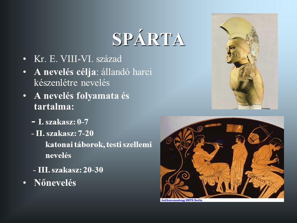 ATHÉN Kr.E. VI-IV. század A nevelés célja: kalokagathia A nevelés folyamata és tartalma: I.