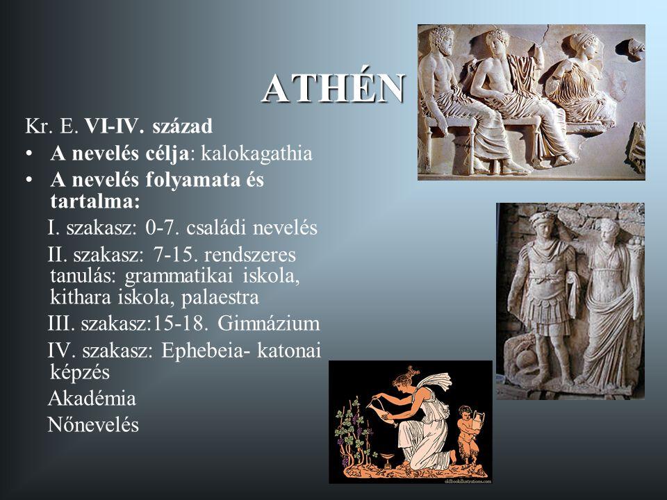RÓMA Kr.e. VIII. sz. - Kr. u. V.sz. A nevelés célja: vir bonus A nevelés szakaszai és tartalma: I.